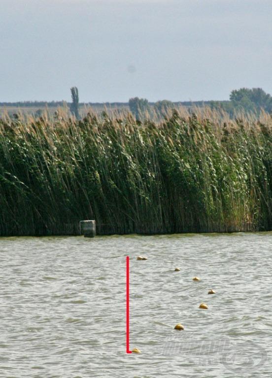Míg a szél a víz tetejét jobbról balra fújta, jól látható a bójasoron, milyen erős a mélyben az ellenkező irányú vízáramlás