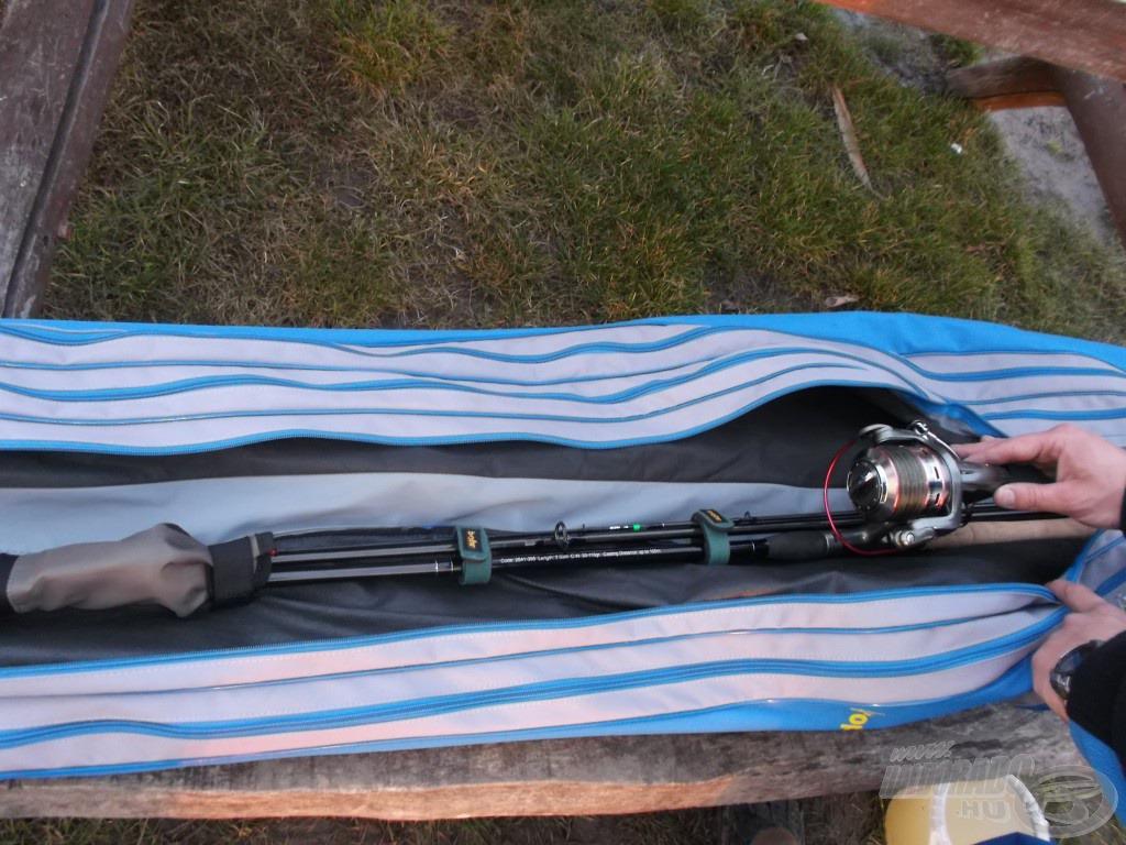 A botzsákba így helyezve biztosak lehetünk benne, hogy kedvenc felszerelésünk épségben fog megérkezni minden horgászatra
