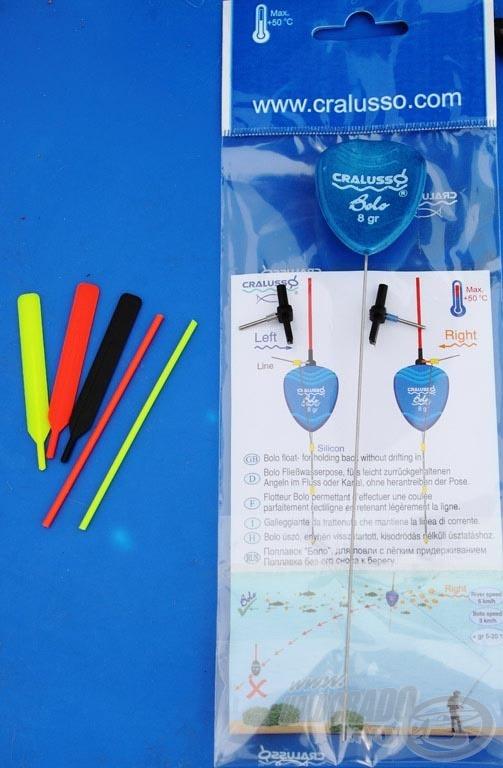 A Cralusso Bolo úszó csomagjában számos antenna, valamint a kétféle folyásiránynak megfelelő adapter található
