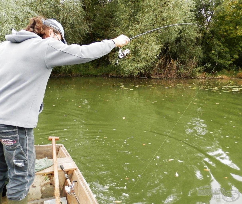 Csónak alá rohanó csukával harcolok