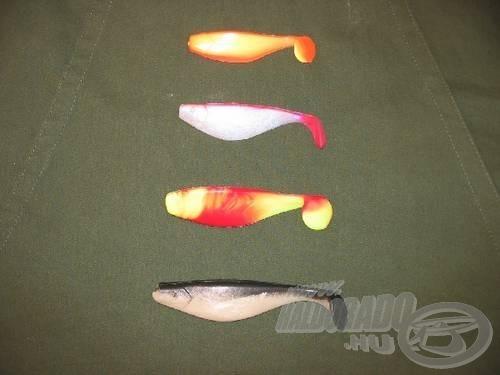 A vizsgálati alanyok (a narancs és piros-sárga márkás, a rózsaszín- és fekete-fehér márkátlan)