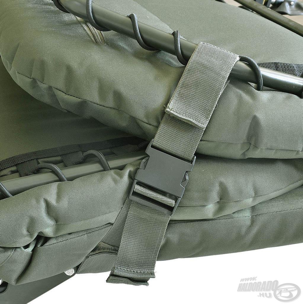 Összehajtott állapotban gyorszáras pántokkal fixálható az ágy, ami biztonságosabbá és könnyebbé teszi a szállítást