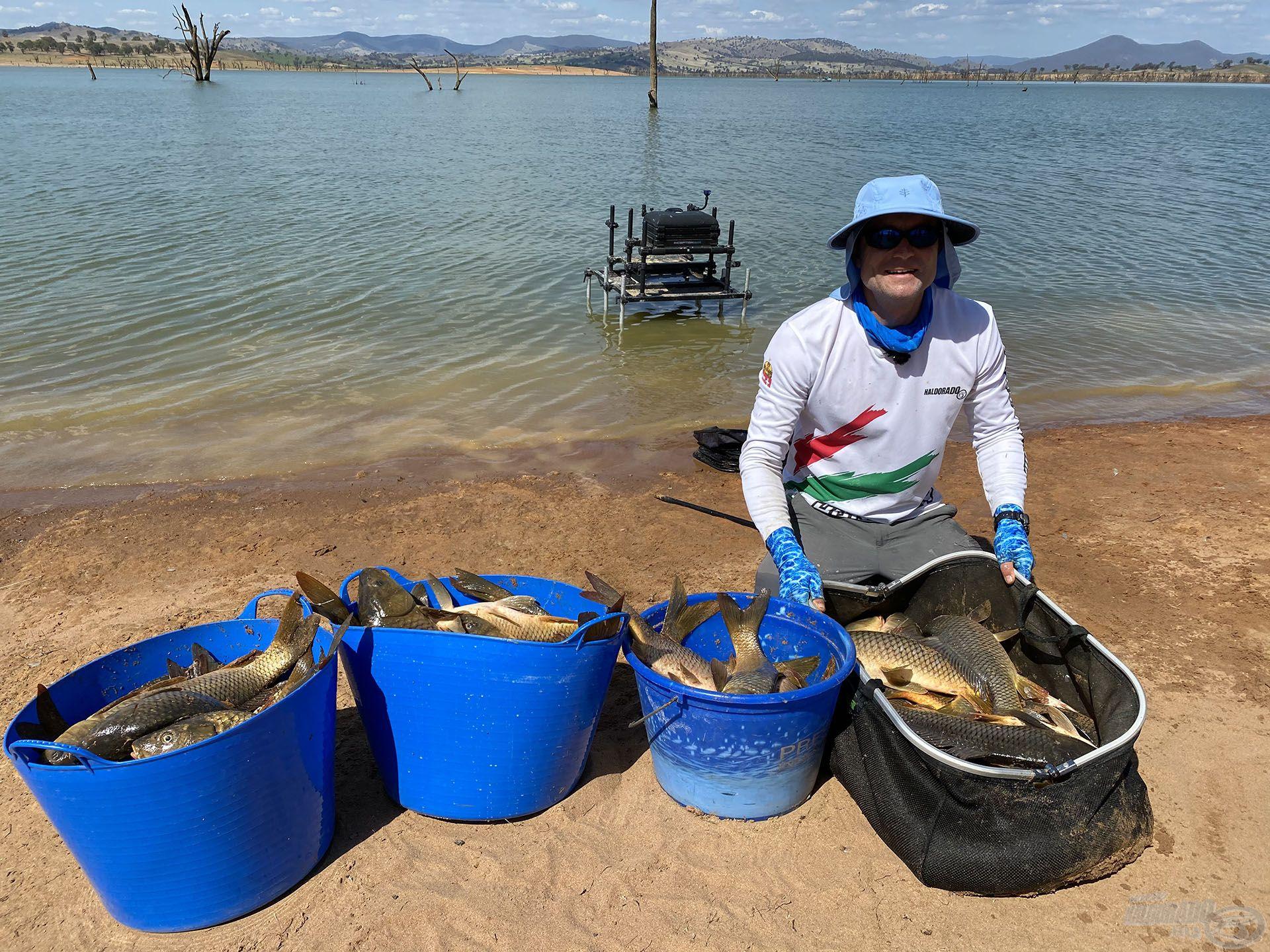 Az első fordulóban 64 db pontyot fogtam 98.900 g összsúlyban, amely a szektorom legtöbb hala volt!