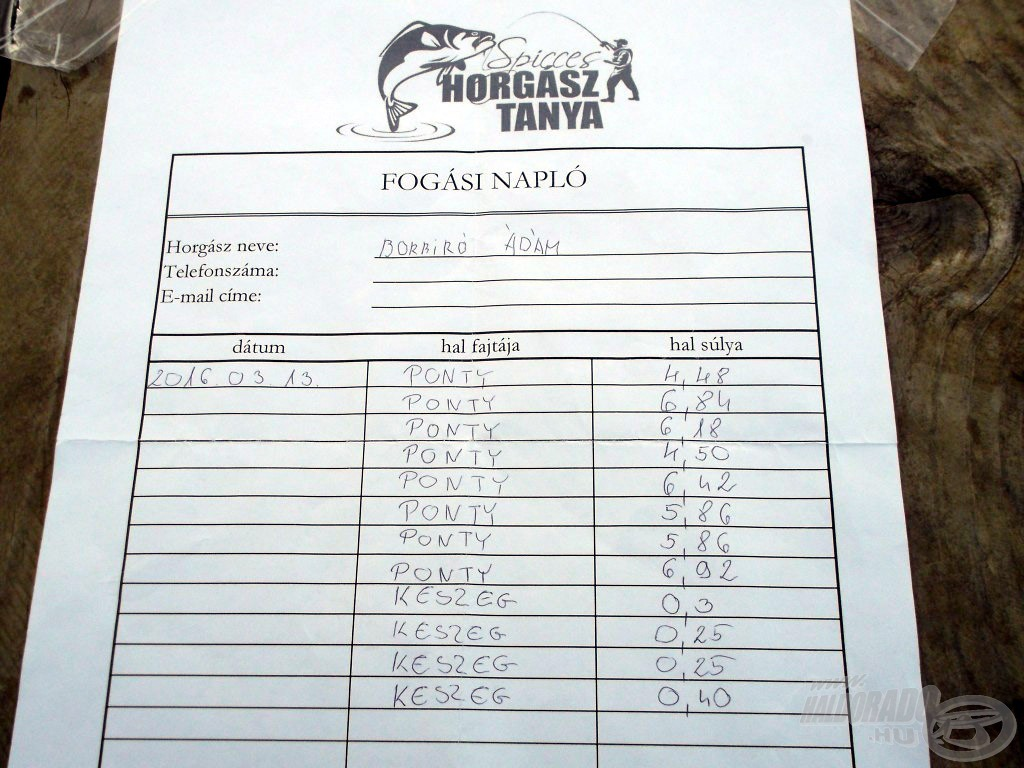 A horgásztó hivatalos fogási naplója, amit minden horgásznak vezetnie kell. A számok, magukért beszélnek