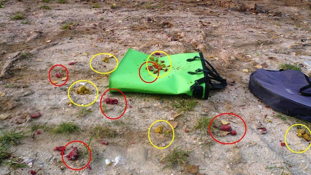 Én pirossal dobtam célba, míg a lövöldözéshez Sanyi sárga kaját használt. Az eredmény jól látható!