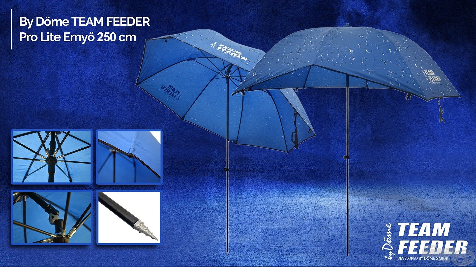 A 250 cm átmérőjű TEAM FEEDER Pro Lite ernyő elég nagy ahhoz, hogy akár másodmagaddal is elférj alatta, és ami további előnyös tulajdonsága, hogy dönthető állású, így akár dobni is lehet alóla!