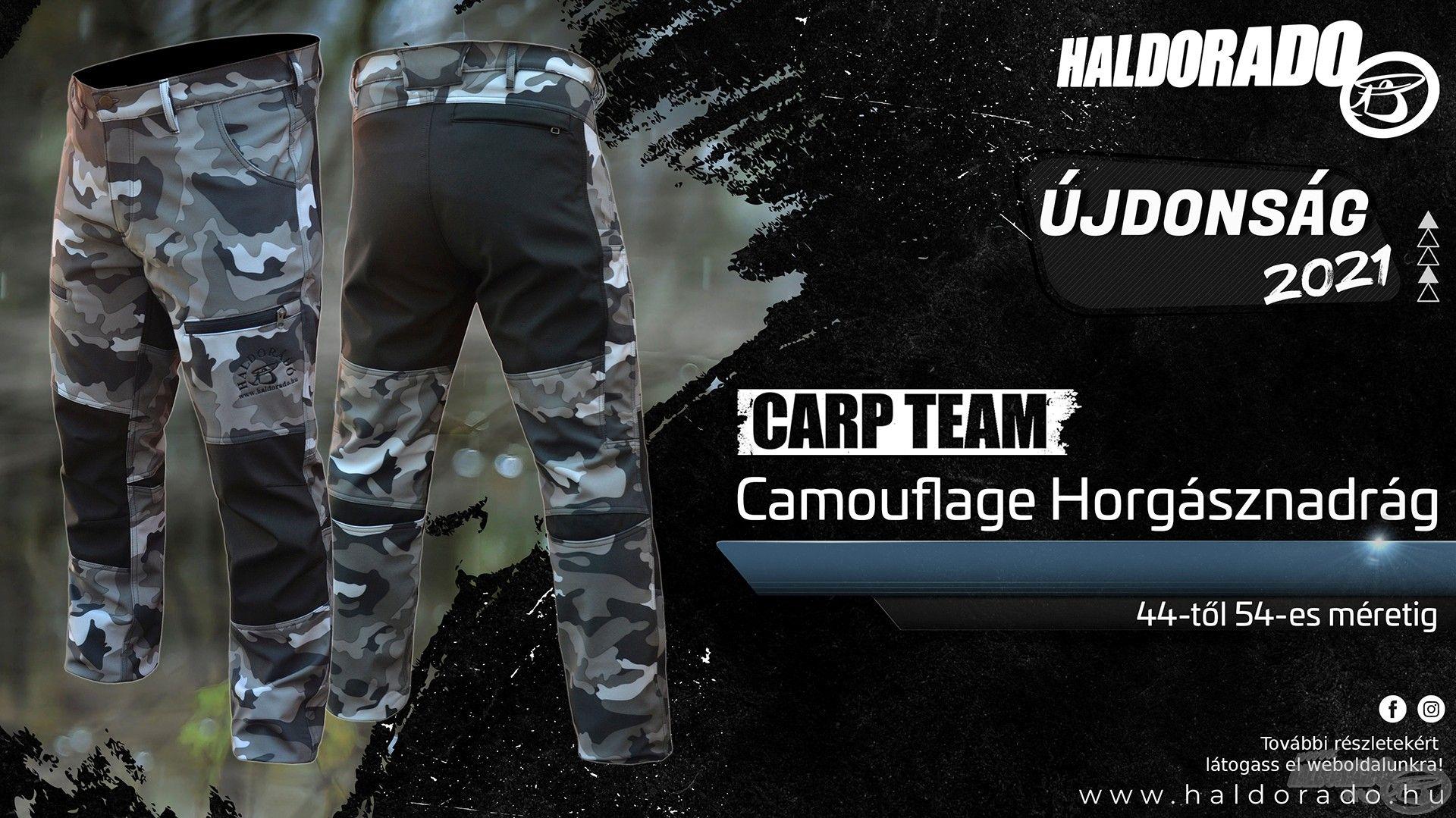 Tökéletes társ ehhez a Carp Team Camouflage Horgásznadrág