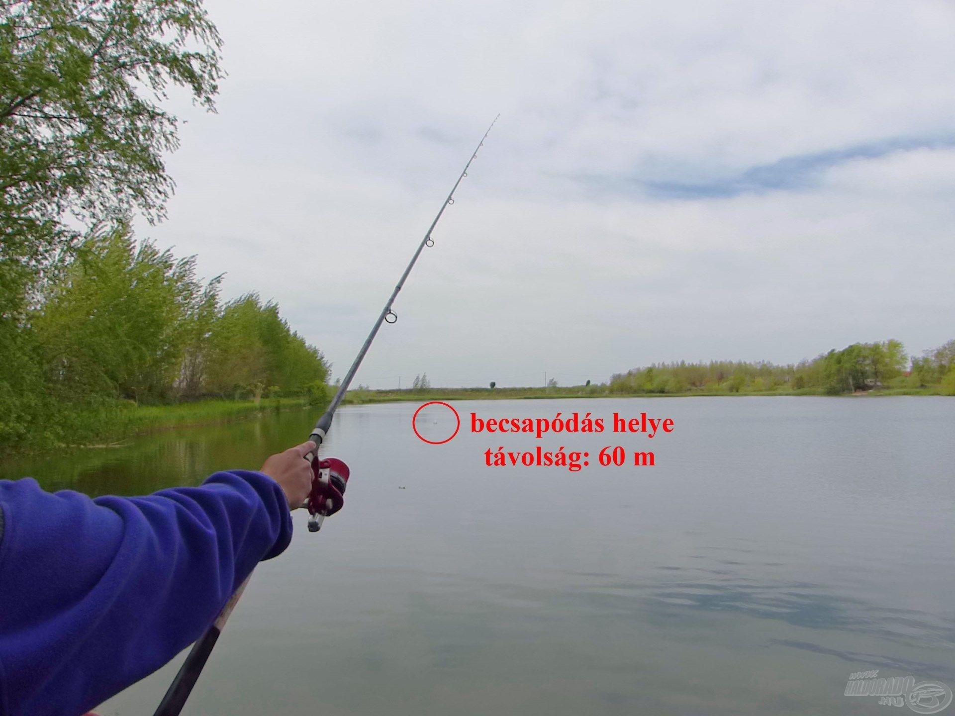 Erről a helyről horgászva nem kell távolra dobni, 50-60 méter a legtöbb esetben elegendő