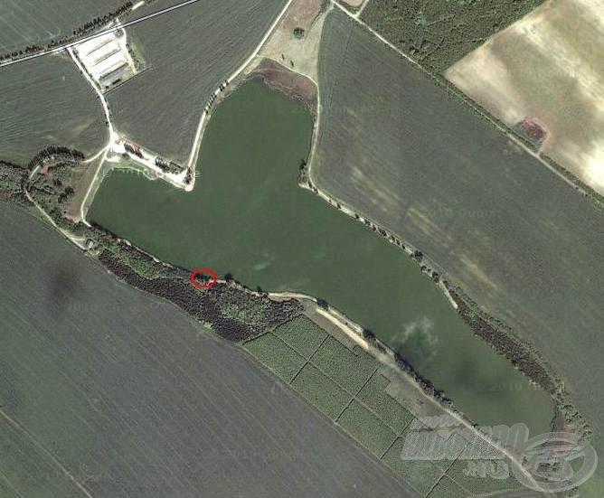 Horgászhelyemet a képen pirossal jelöltem