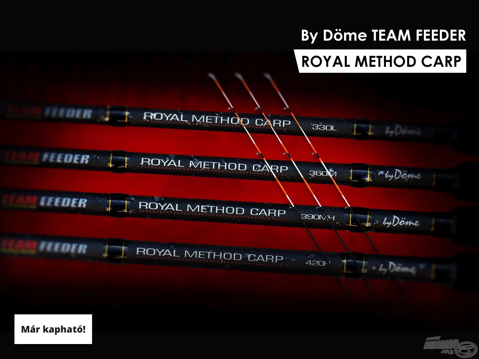 A By Döme TEAM FEEDER Royal Method Carp botokat hatalmas érdeklődés övezi megjelenésüktől fogva, s egyre több horgász használja őket megelégedéssel. A többi típus mellett ez a prémium széria is teljes kínálattal elérhető lesz a rendezvényen!