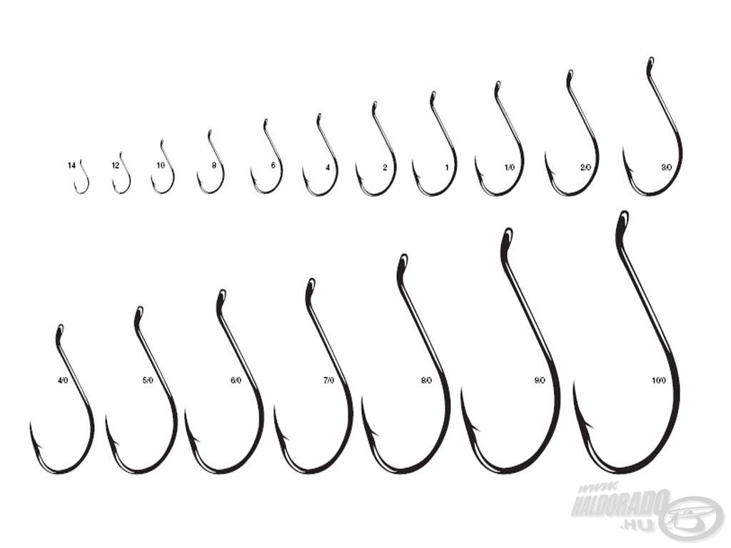 Hook chart - horogméret táblázat