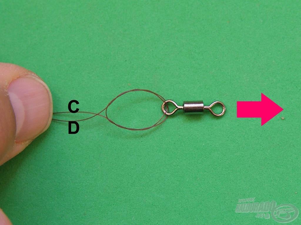"""Tartsuk erősen a """"CD"""" szálakat és a megnedvesített """"AB"""" szálakat a forgóval húzzuk ellentétes irányba"""