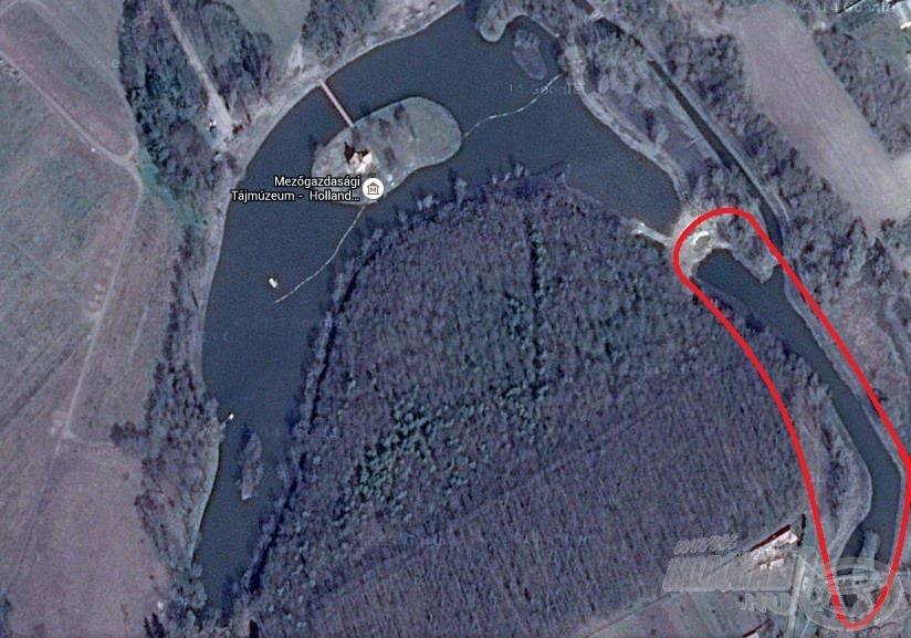 Az említett horgászhely pirossal megjelölve