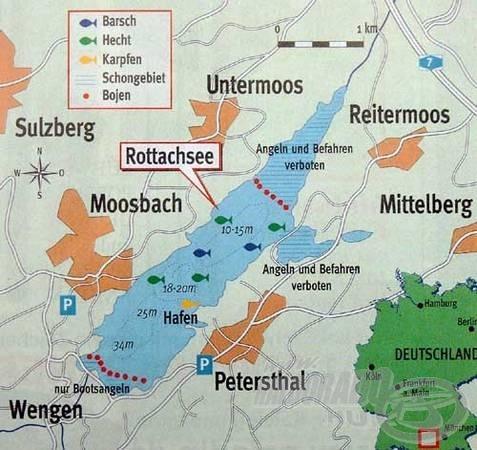 A Rottachsee víztározó legmélyebb pontja, a gát közelében eléri a 34 métert