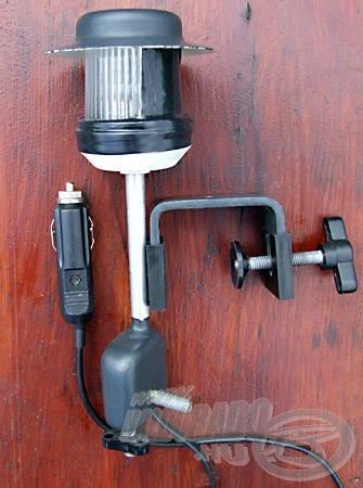 A rövid szárra szerelt lámpatest és a felfogatásához használt bottartó-pofa