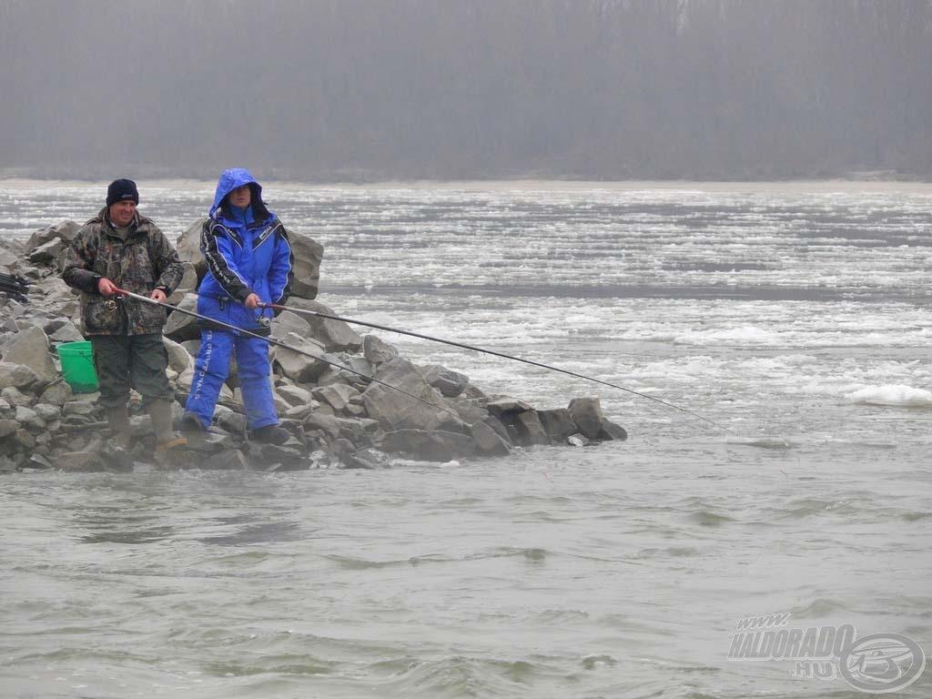 Még a vadul rohanó vízben is vissza lehet tartani a végszereléket a bolognai bottal