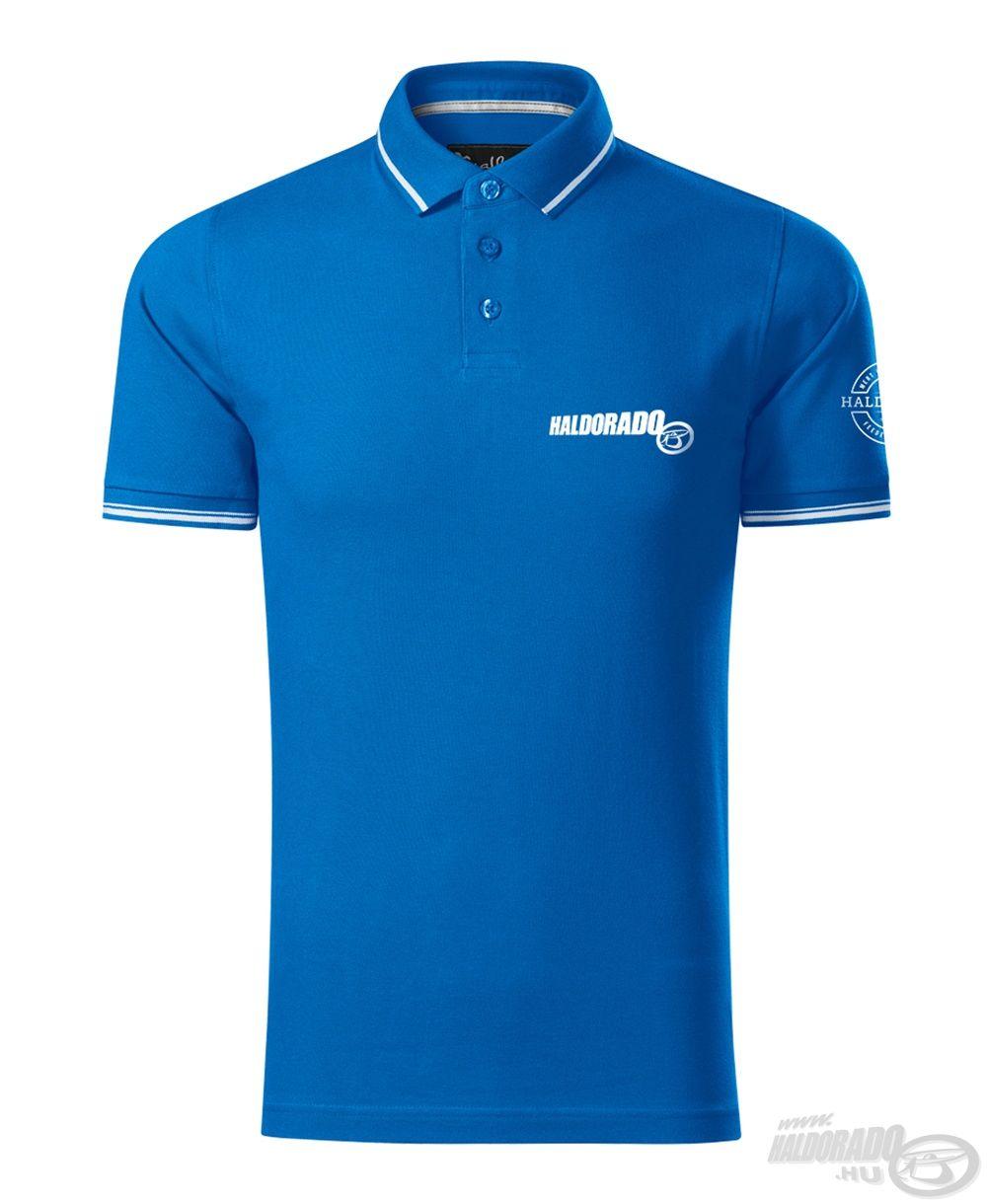 A Feeder Team Performance királykék színű galléros póló 95% pamut és 5% elasztán anyagból készült