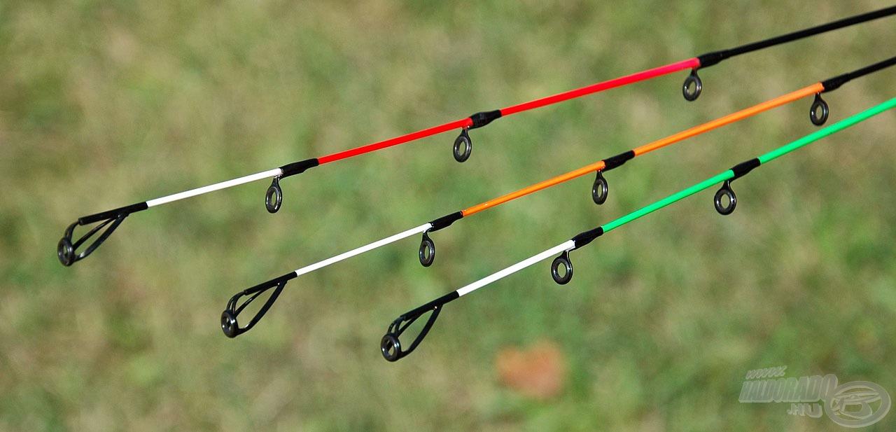 … míg a 3,3 méternél hosszabb feederekhez már 3 különböző erősségű spicc jár. A legerősebb a piros, a közepesen erős a narancssárga, míg a zöld végű a leglágyabb spicc