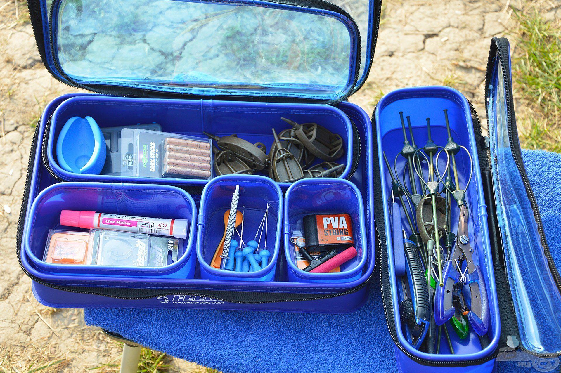 A szett darabjai, illetve a tetővel ellátott tárolók tökéletesen használhatók többek között különféle végszerelék-elemek, kiegészítők tárolásához