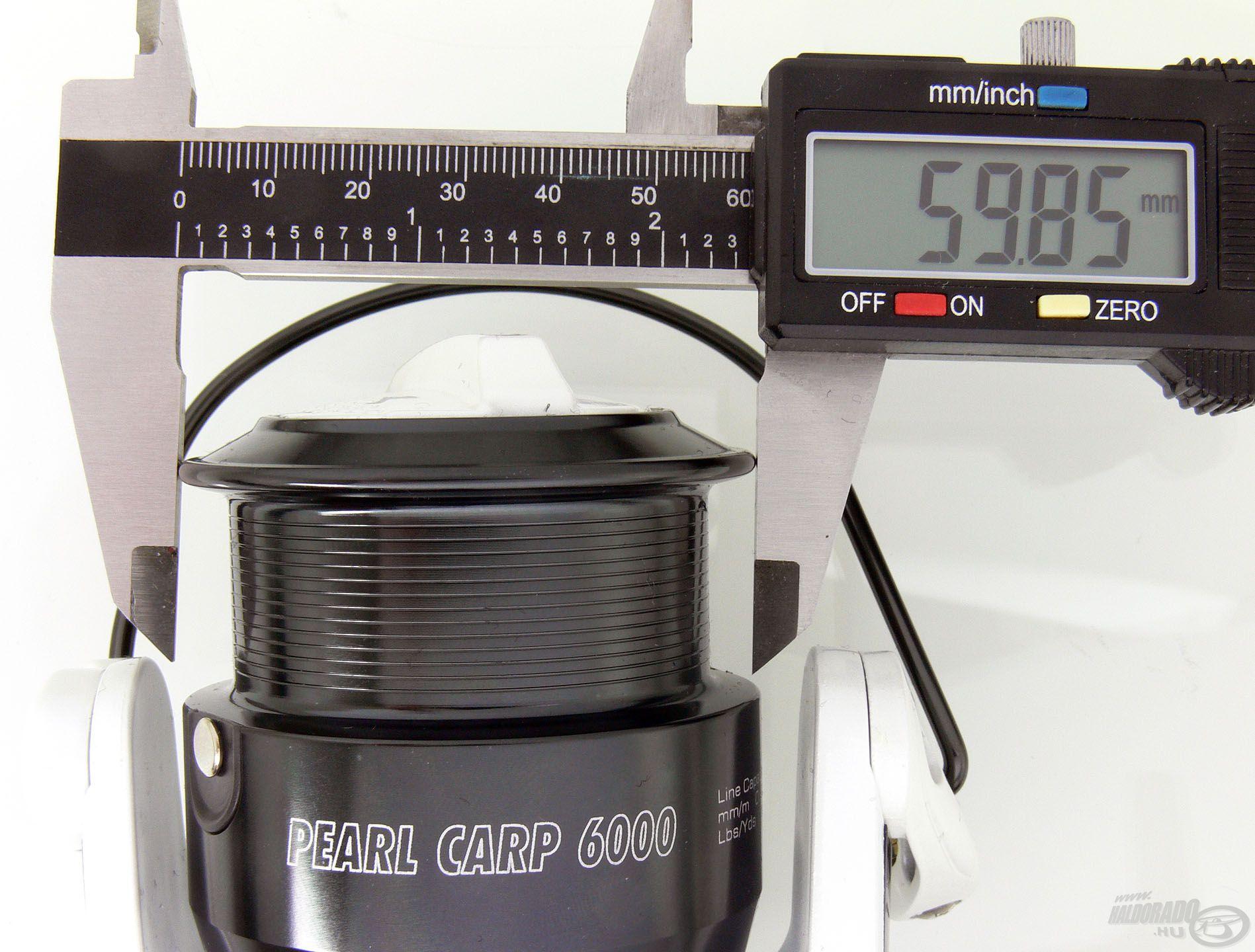 A legnagyobb, 6000-es Pearl Carp dobátmérője 59,85 mm
