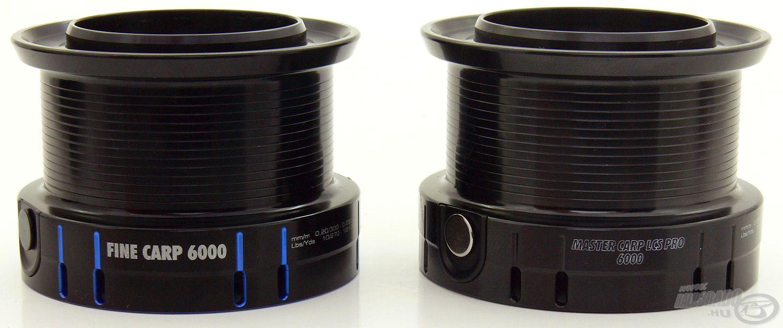 A két orsó 5000-es és 6000-es méretváltozatainak dobjai teljes mértékben azonos méretűek