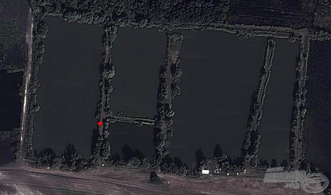 A piros ponttal jelölt helyen horgásztunk