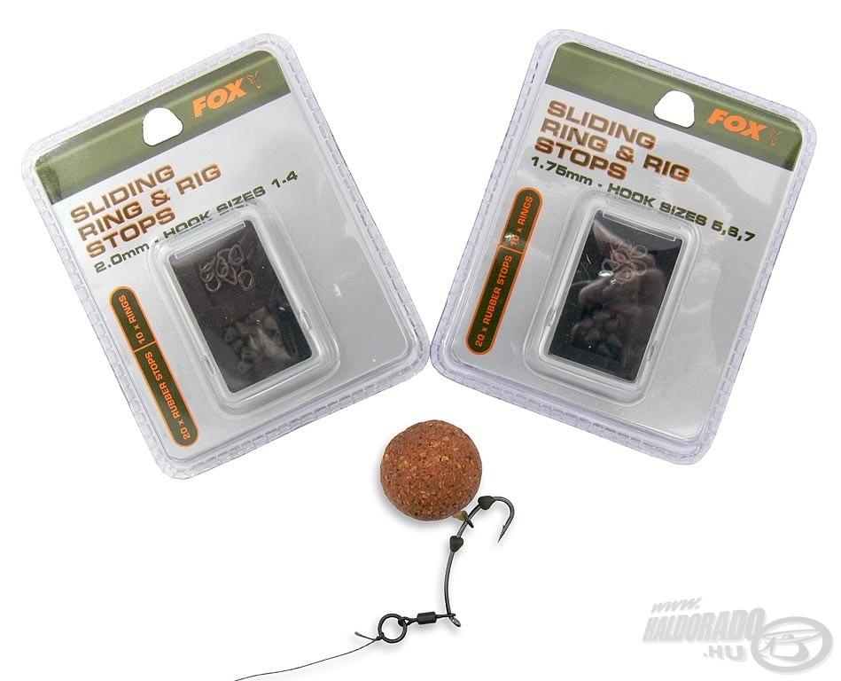 A FOX Hajszálelőke gyűrű és gyűrűstopper készlet 2 különböző méretben kerül forgalomba. Így a nagyobb és a kisebb méretű horgokon is tökéletesen megszorul az ék alakú gumistopper. A csomagoláson jól látható, hogy milyen méretű horgokhoz ajánlja a gyártó