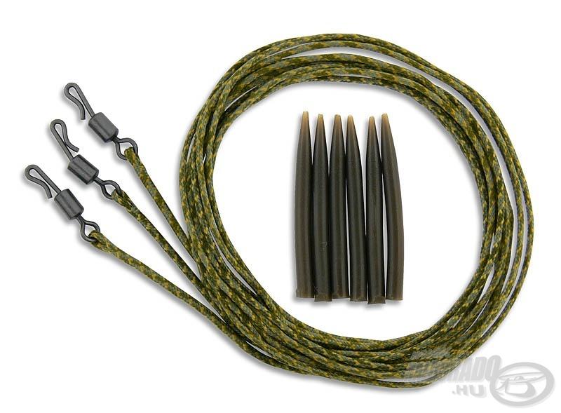 A csomag tartalma három darab előkötött, gyorskapocsban végződő ólombetétes zsinór és a hozzá illő gumihüvelyek
