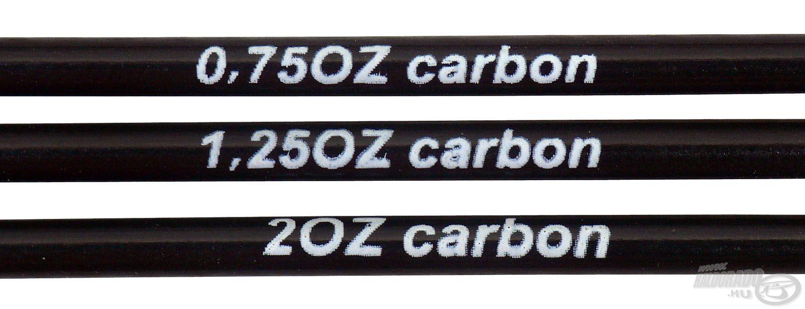 A karbon spiccek erőssége: 0,75; 1,25; és 2 oz
