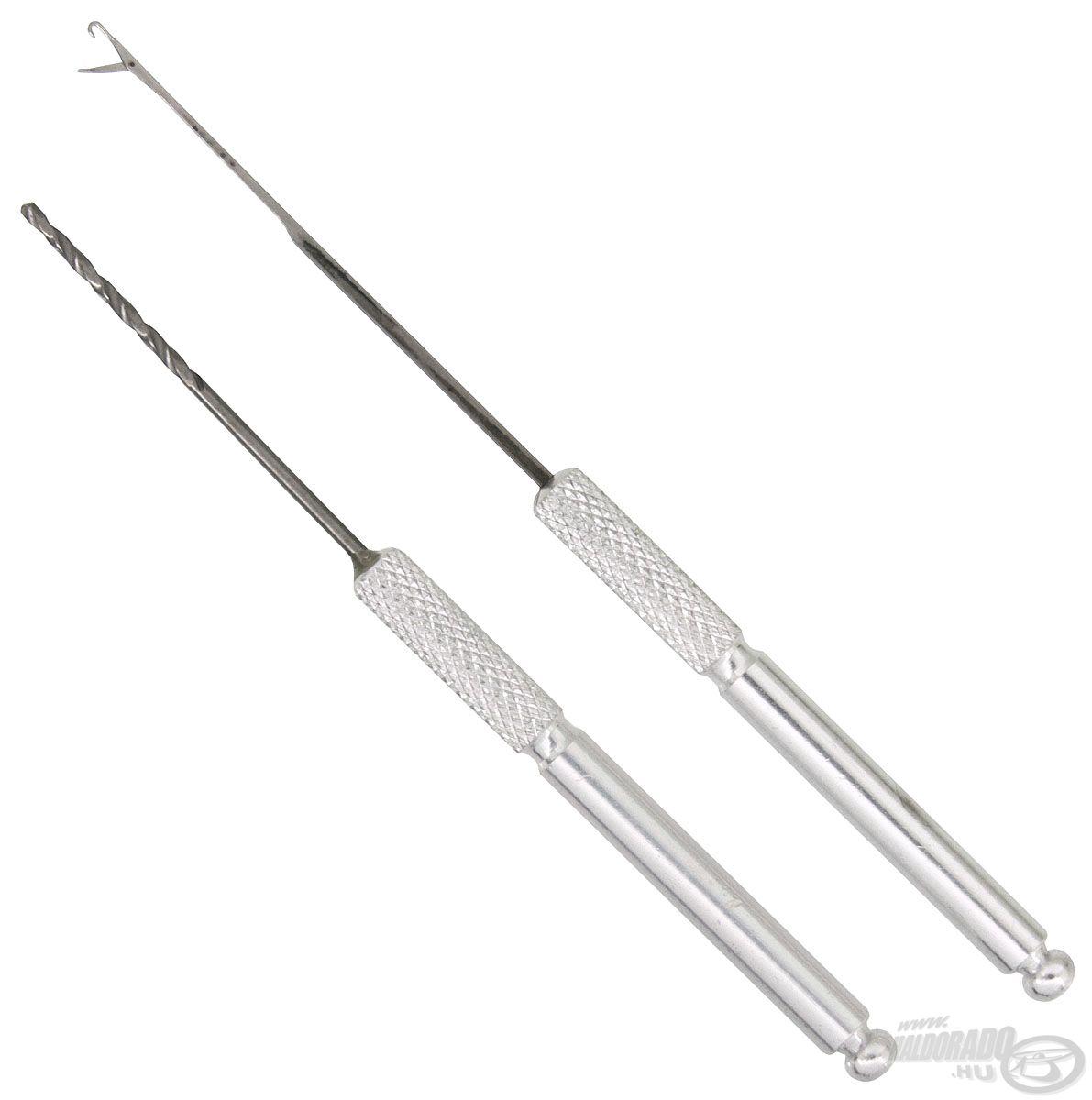 Íme, a Pro Method Standard szett, melyben a két leggyakoribb kellék, egy csappantyús fűzőtű, valamint egy erős csalifúró kapott helyet