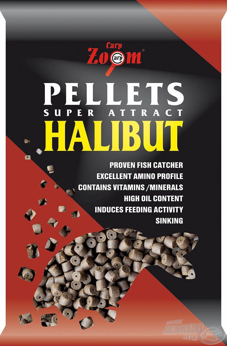 Halolajban gazdag, fúrt halibut pellet, mely 8, 15 és 20 mm-es változatokban kapható