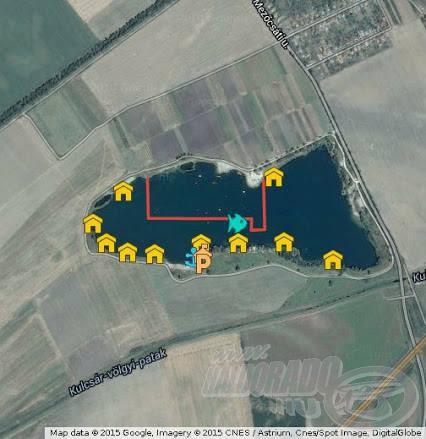 A tó térképe, melyen jól látható az úszóházak elhelyezkedése