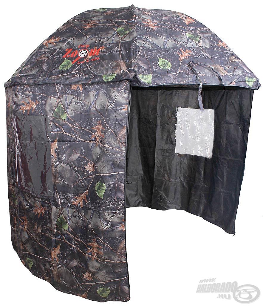 Terepszínű sátras horgászernyő a rejtőzködő pecások kedvéért