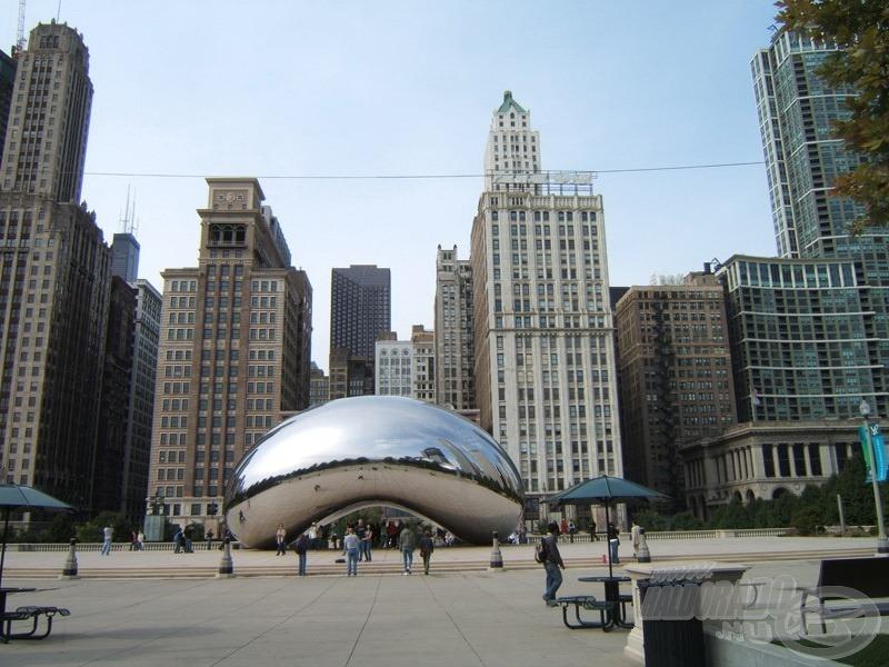 Chicago a Michigan-tó melletti parkból nézve