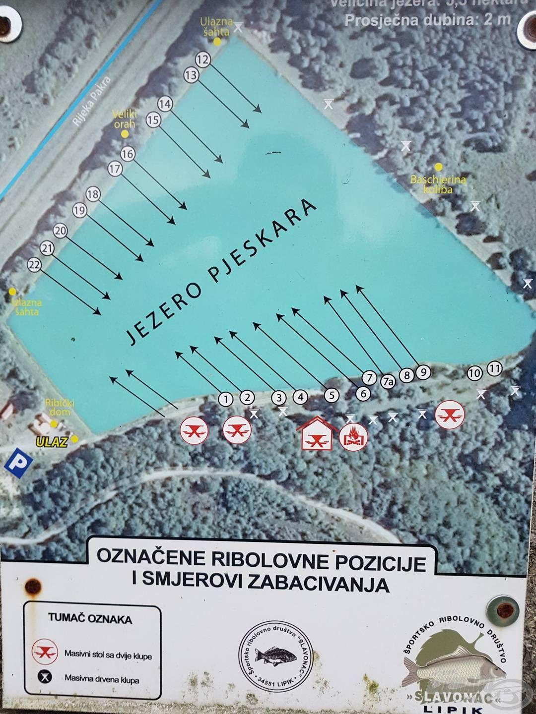 A tó és a rajta található állások (miénk a 13. és 14. hely)