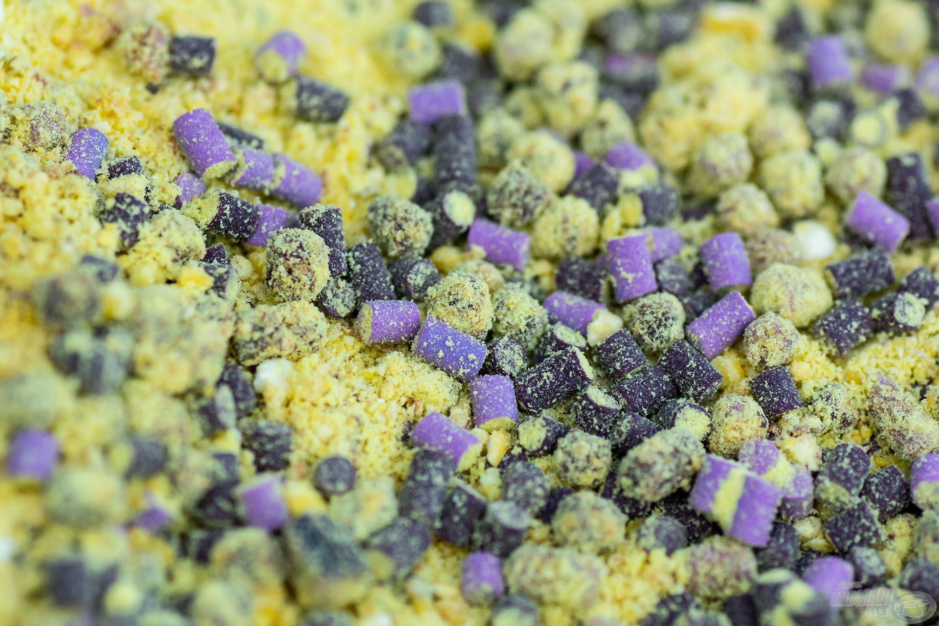 A BlendeX 2 in 1 Ananász + Banán citromsárga színű etetőanyag lila színű micropelletekkel keverve – finom, édes ízű és aromájú, szénhidrátos kaja. Különösen fogós az átmeneti időszakban (felmelegedő / lehűlő) és a nyári meleg vizekben. Bármelyik vízterületen eredményes lehet!