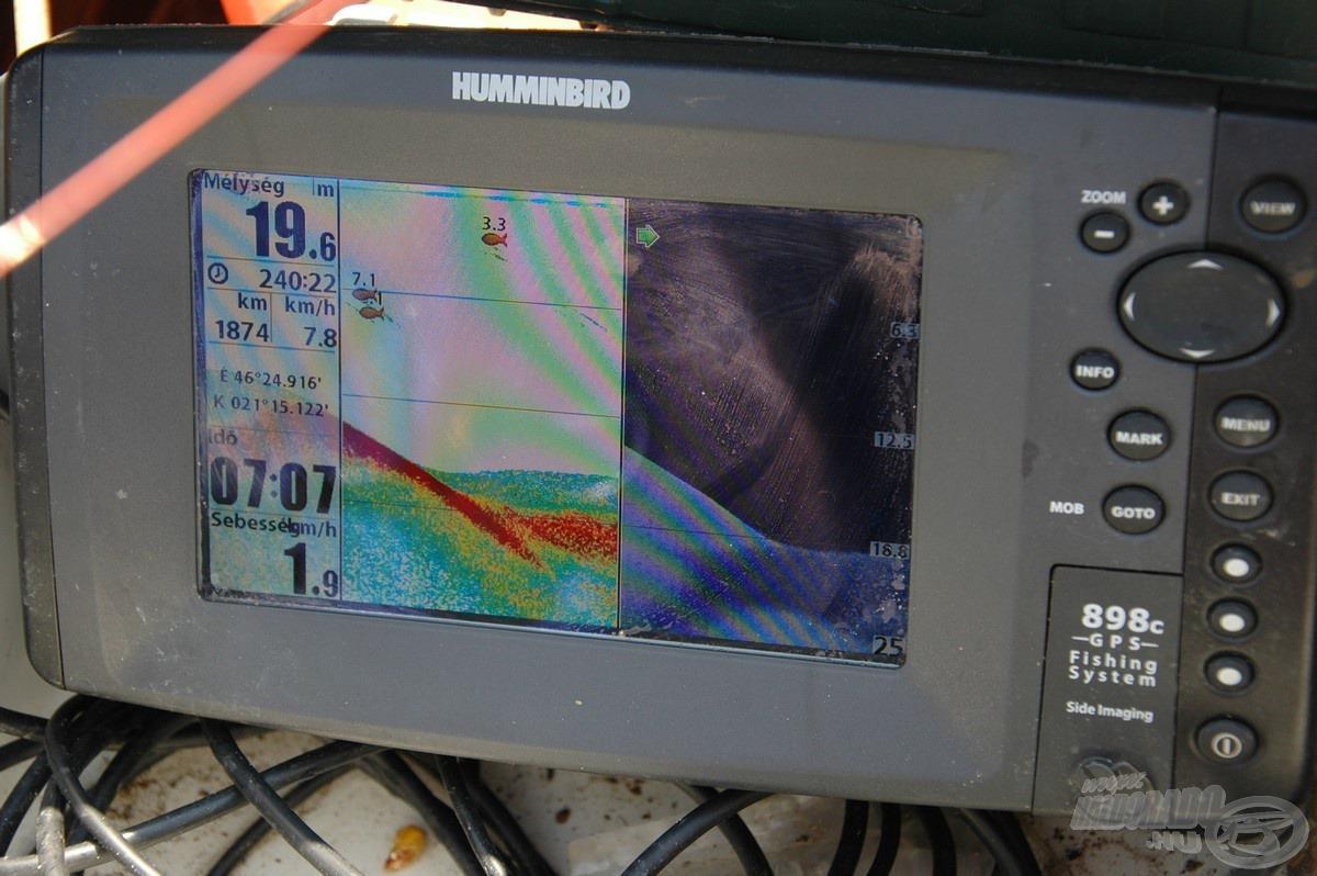 A radar is azt mutatta, hogy a mély részek szinte teljesen kihaltak, úgy öt méter mélységig láttunk mozgást