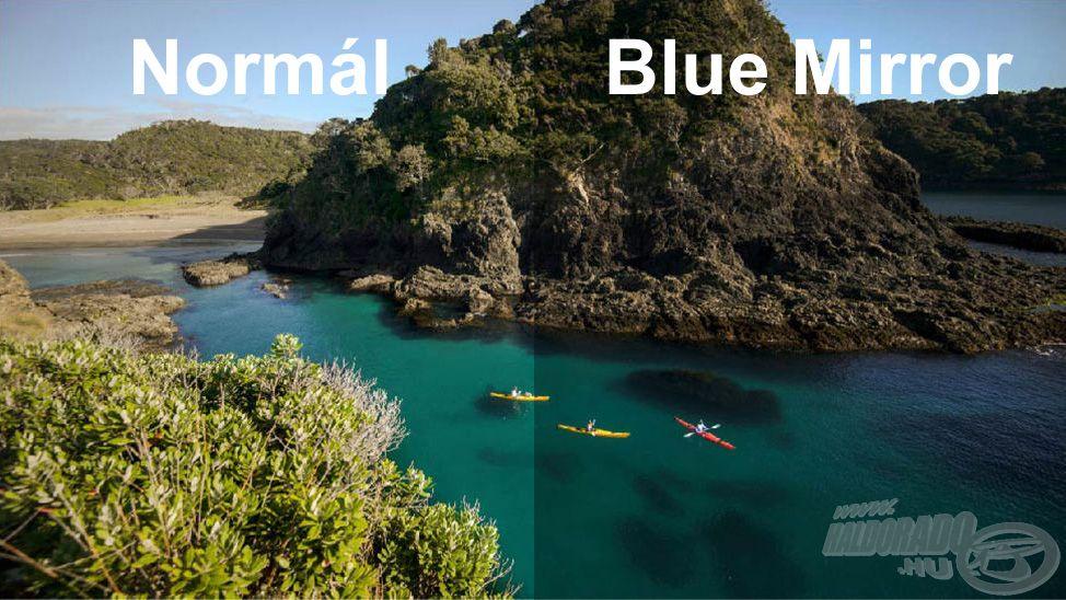 Íme, a Blue Mirror lencse hatása (jobb oldalon) a normál nézet mellett