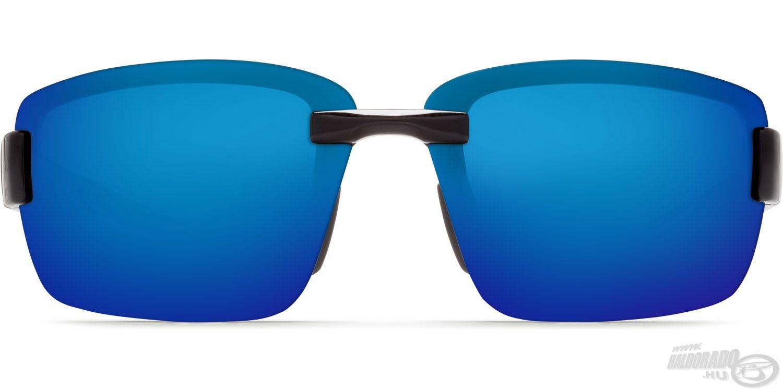 Széles, ívelt szürke színű lencsék, kék tükröződő bevonattal