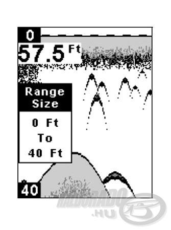 Egy példa a manuális mélységhatár beállításával elérhető képnagyításra. Az aktuális vízmélység ugyan 57,5 láb, a manuális beállítás miatt mégis csak a felső 40 lábnyi vízoszlop képe jelenik meg - az viszont több részlettel, jobban értékelhetően