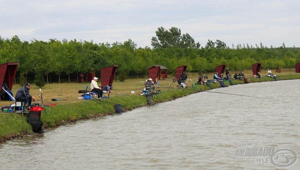 Júniusi versenyen mindenki jól beöltözve várta a halakat, ám jövetelükig a csalit a nagy szélben az etetésen kellett tartani…