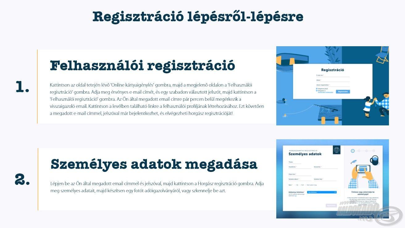 Nézzük a regisztrációt lépésről lépésre! Az első kettő a felhasználói regisztráció, valamint a személyes adatok megadása