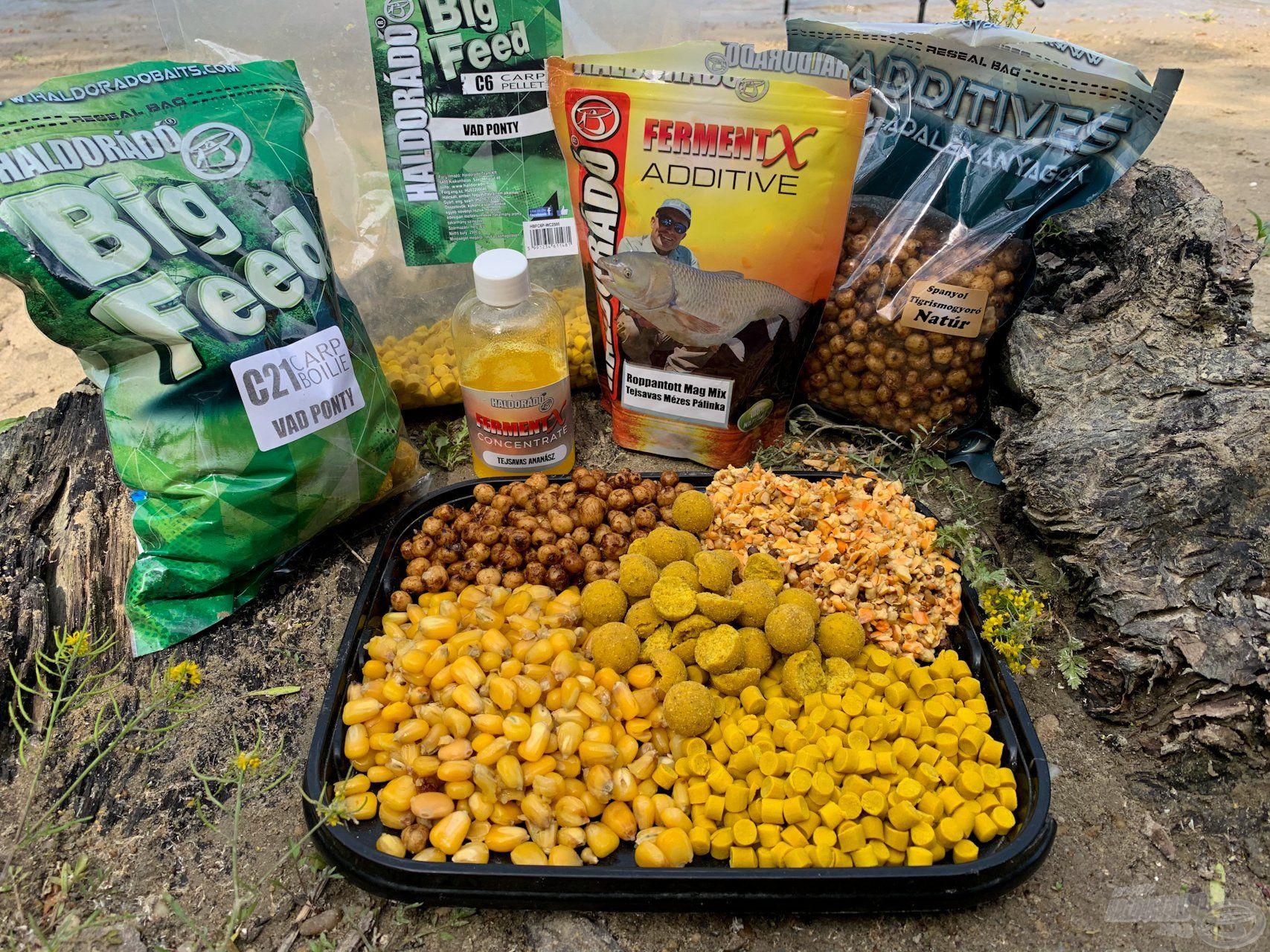 Főtt kukorica, C6 Vad Ponty pellet, C21 Vad Ponty bojli, Natúr tigrismogyoró, Roppantott mag mix – mindezt leöntöttem FermentX koncentrátummal