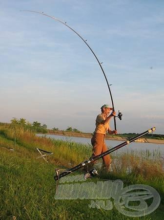 … vagy új módszert tökéletesíteni, és élőhal csalival messze a tóparttól, úszózva a vízközti réteg harcsáira vadászni, mint ahogyan azt B. Foky István teszi