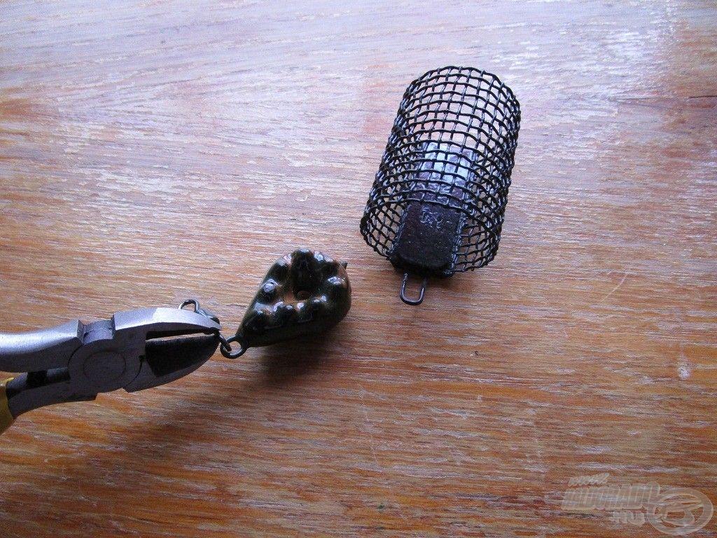 Egy csípőfogó segítségével az ólmok és drótos kosarak forgóját mindig eltávolítom