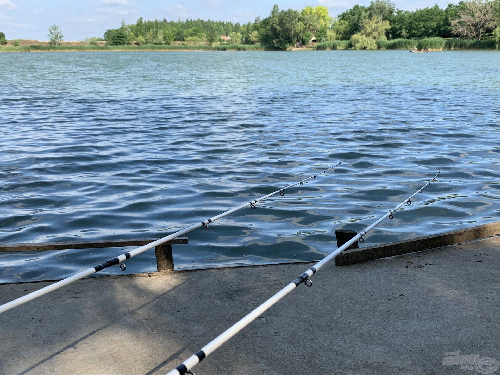 A szerelék újra a vízben… görbülhet a spicc