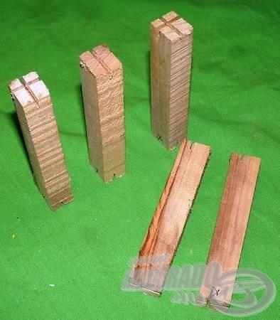 Uszadék fa hasábok a jól látható kereszt alakú illesztőkkel - ez a precíz megmunkálás alapja