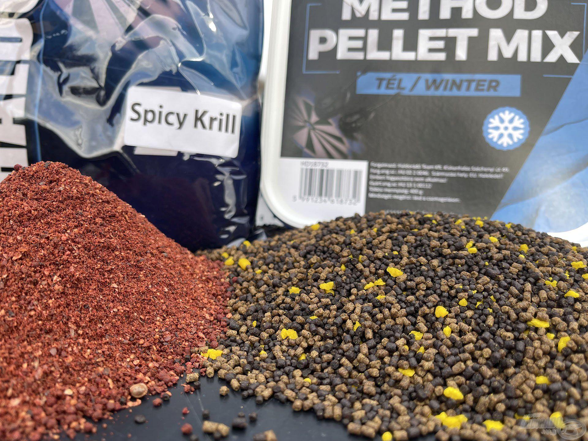 A 20-30 deka Spicy Krill etetőanyag és egy doboz a 4S Method Pellet Mix Téli változatából több órára elegendő csalogatóanyagot biztosít
