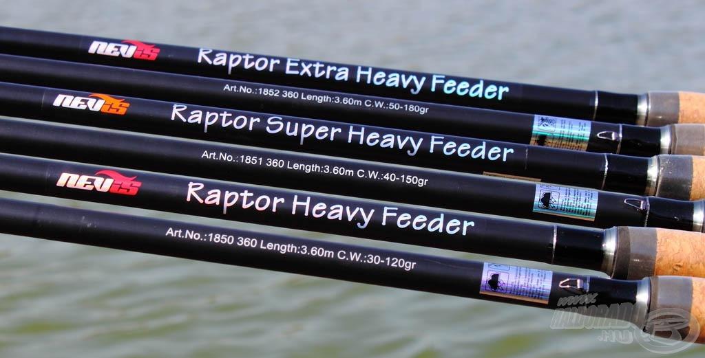 A Nevis Raptor botcsalád 3 különböző erősségű és fajtánként 2 különböző hosszúságú feederbotból áll