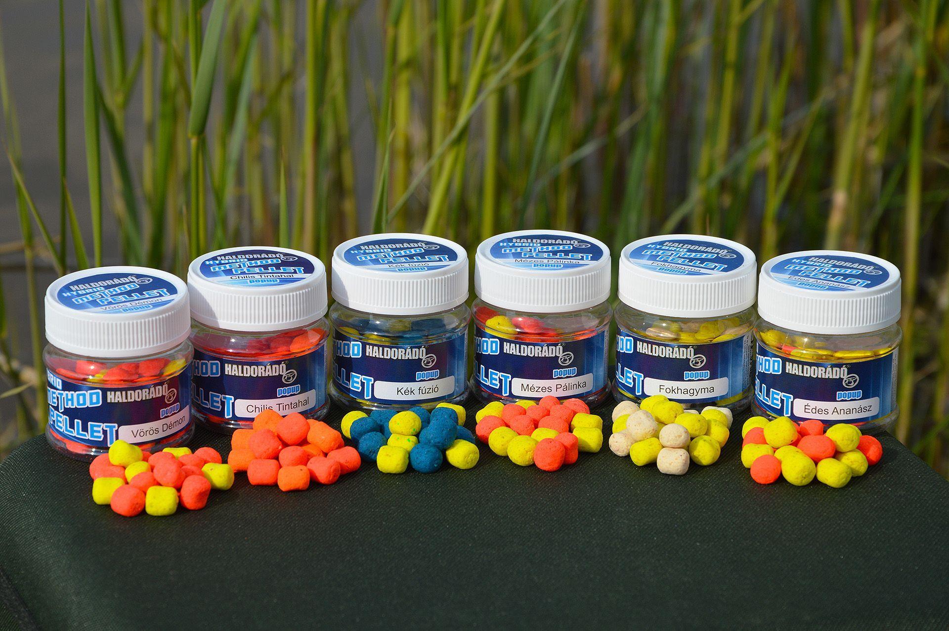 A Hybrid Method Pelletek 6 népszerű ízben, ízenként két színváltozatban kaphatók: Chilis Tintahal, Édes Ananász, Fokhagyma, Kék Fúzió, Mézes Pálinka, Vörös Démon